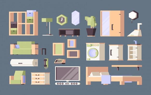 Möbel wohnzimmer. tische schreibtisch stühle bett orthogonale flache bilder Premium Vektoren