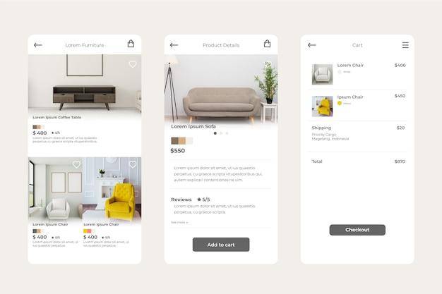 Möbeleinkaufs-app-konzept Kostenlosen Vektoren