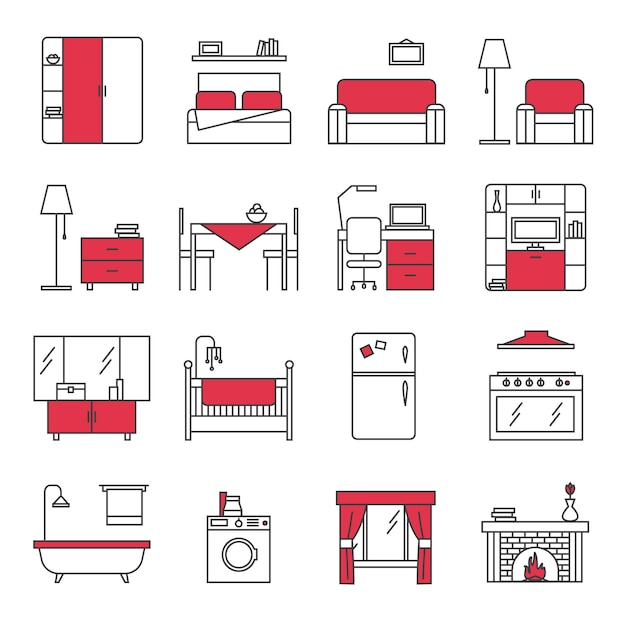Möbellinie icons set Kostenlosen Vektoren