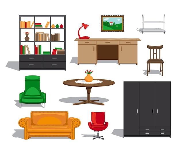 Möbelset. sofa und tisch, stuhl und bücherregal und sessel. Kostenlosen Vektoren