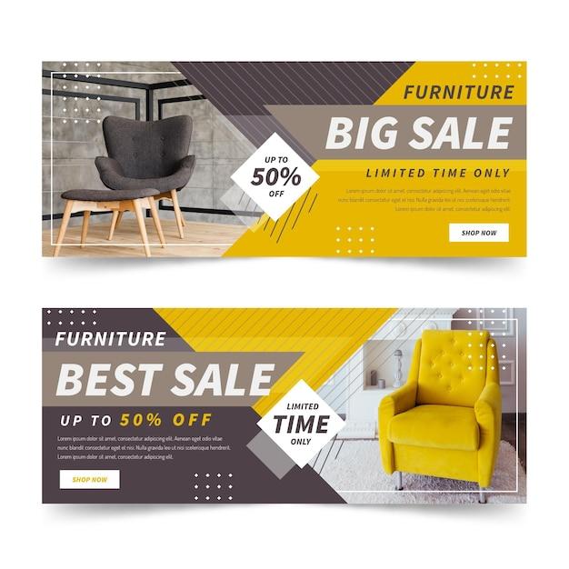 Möbelverkauf banner vorlage Kostenlosen Vektoren
