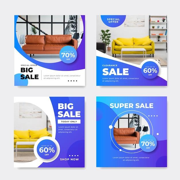 Möbelverkauf ig pfosten eingestellt mit foto Kostenlosen Vektoren