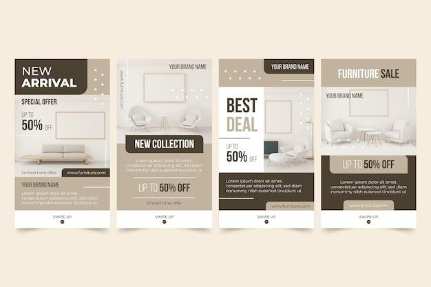 Möbelverkauf instagram geschichten Premium Vektoren