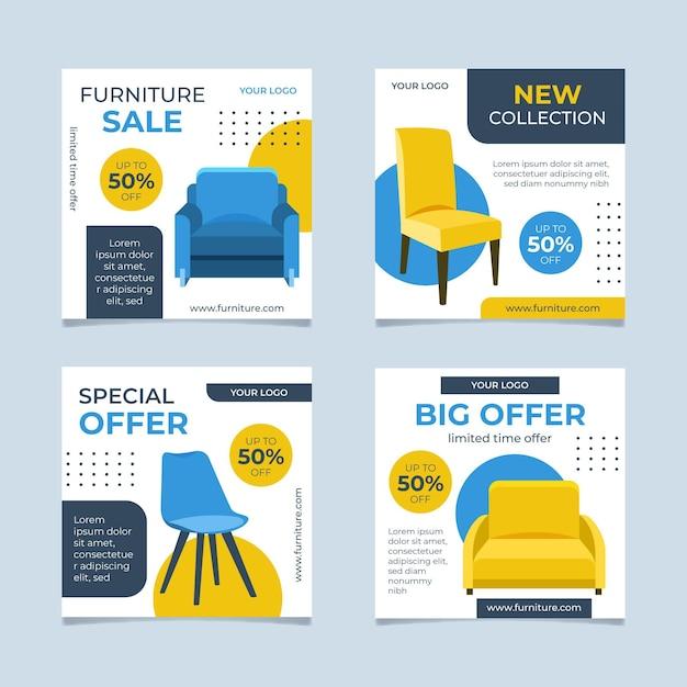 Möbelverkauf instagram post sammlung Premium Vektoren