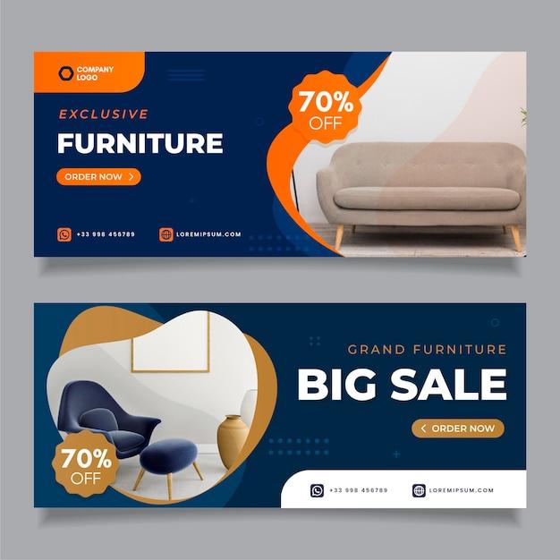 Möbelverkaufsbanner mit bild gesetzt Premium Vektoren