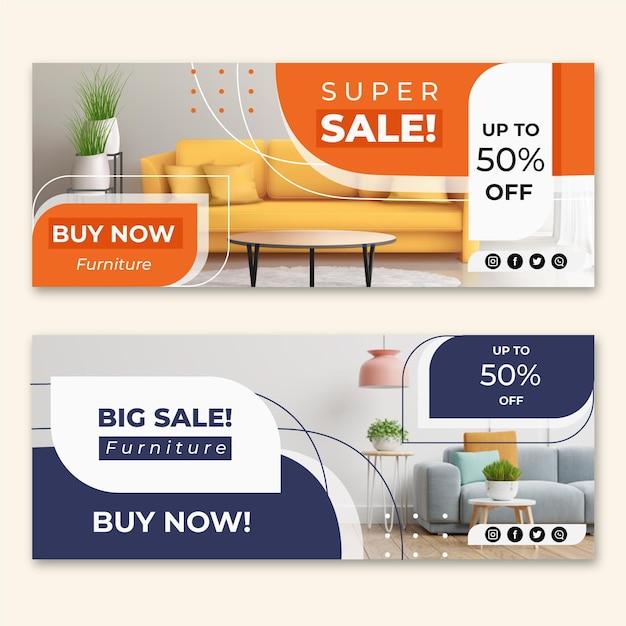 Möbelverkaufsbanner mit foto Kostenlosen Vektoren