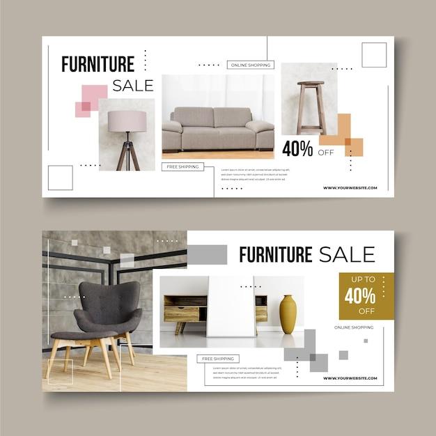 Möbelverkaufsbanner mit rabatt Premium Vektoren