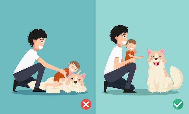 Möglichkeiten für eltern, sich beim spielen mit dem hund um das neugeborene zu kümmern Premium Vektoren