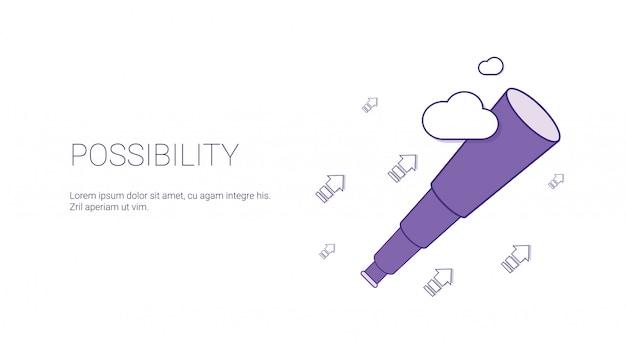 Möglichkeits-netz-fahne mit kopien-raum-geschäfts-motivations-konzept Premium Vektoren