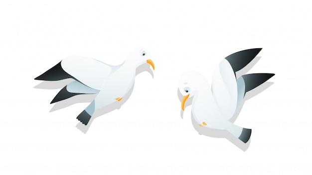 Möwen fliegen charakter cartoon aquarell stil kinder illustration vektor clipart. Premium Vektoren