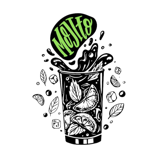 Mojito in schwarzen und weißen farben Premium Vektoren