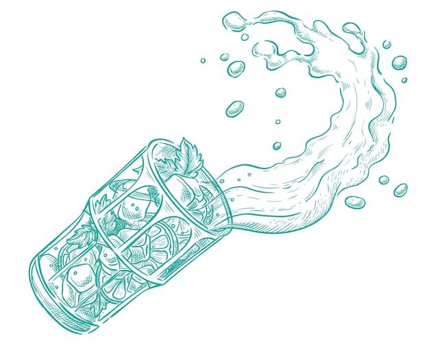 Mojito läuft aus dem glas heraus. vektorskizze Premium Vektoren