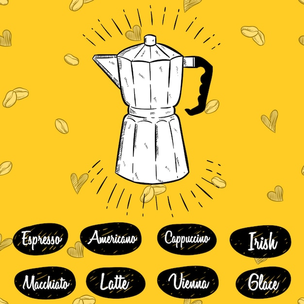 Moka-topfillustration und kaffeemenü mit skizzenart Premium Vektoren