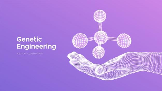 Molekül in der hand. dna, atom, neuronen. moleküle und chemische formeln. Premium Vektoren