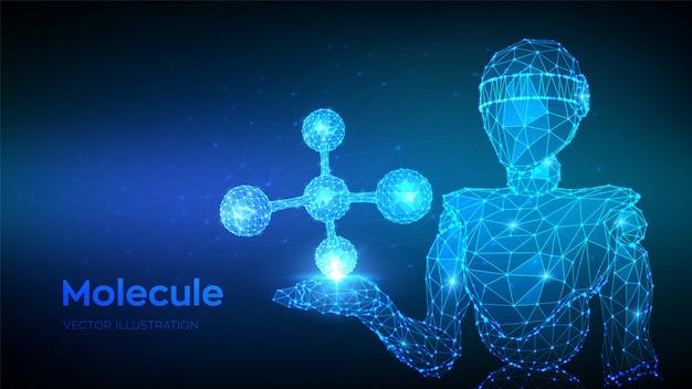 Molekülstruktur. dna, atom, neuronen. abstrakter niedriger polygonaler roboter 3d, der molekül hält. Premium Vektoren