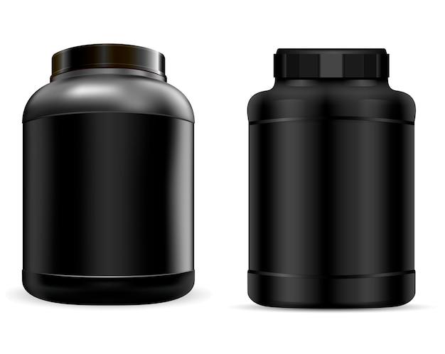 Molkeproteinbehälter. schwarzes protein-glas. können Premium Vektoren