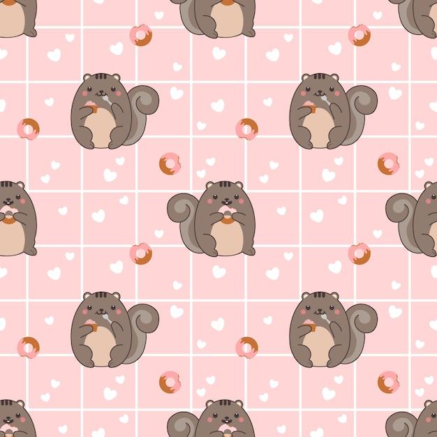 Molliges eichhörnchen des nahtlosen musters essen donut und kleinen kuchen Premium Vektoren