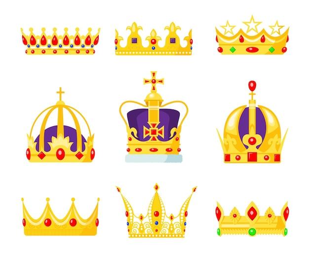 Monarch kronenset. könig oder königinnen schmuck, königliches autoritätssymbol, goldjuwel für prinz und prinzessin. Kostenlosen Vektoren