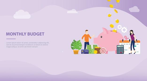 Monatliches budgetplanungskonzept für websiteschablone oder landungshomepage Premium Vektoren