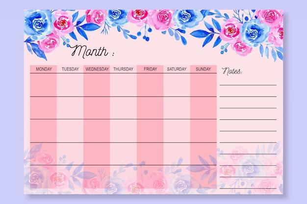 Monatsplaner mit aquarell rosa blumenhintergrund Premium Vektoren