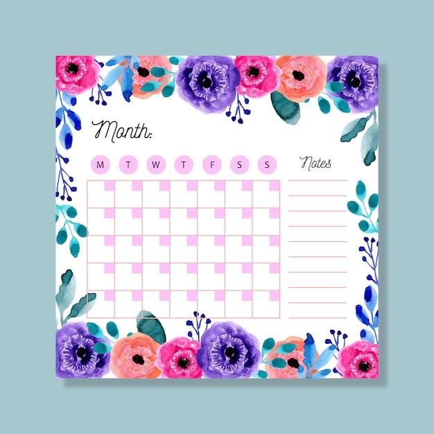 Monatsplaner mit buntem aquarellblumen Premium Vektoren