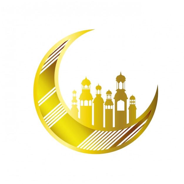 Mond, der mit ramadan-kareem moscheegebäuden hängt Premium Vektoren