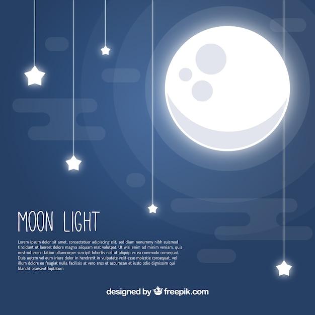 Mond hintergrund mit sternen in flachem design Kostenlosen Vektoren