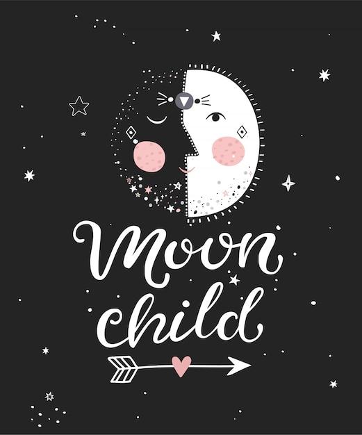 Mond kind monochrom poster Premium Vektoren