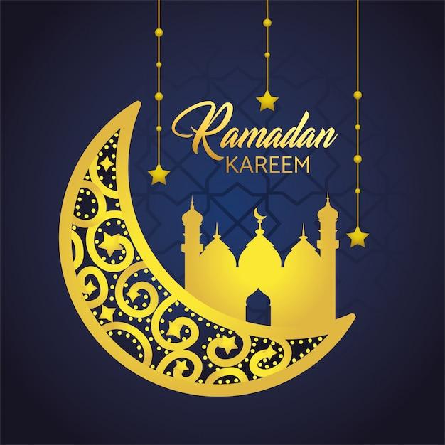 Mond mit dem schloss und sternen, die zu ramadan kareem hängen Kostenlosen Vektoren