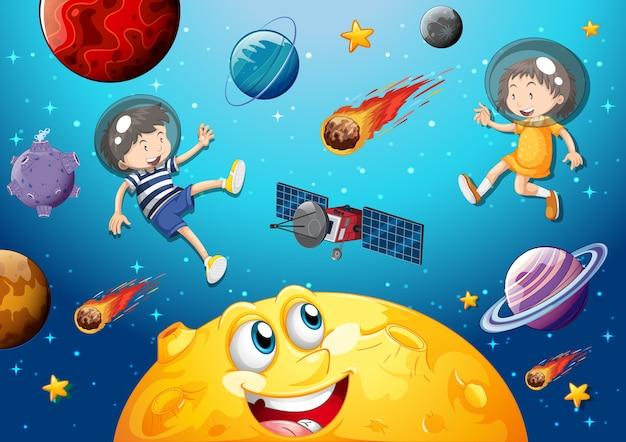 Mond mit glücklichem gesicht auf raumgalaxiethemahintergrund Kostenlosen Vektoren