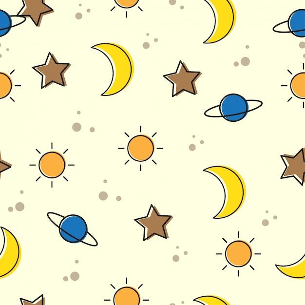 Mond und stern nahtlose muster. Premium Vektoren