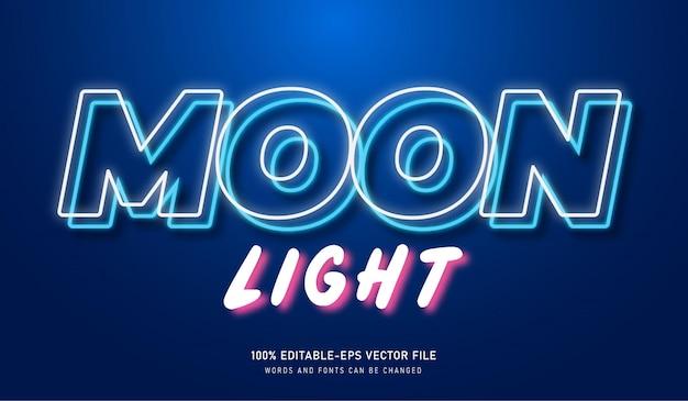 Mondlichttext-effekt mit bearbeitbarem neon-element Premium Vektoren