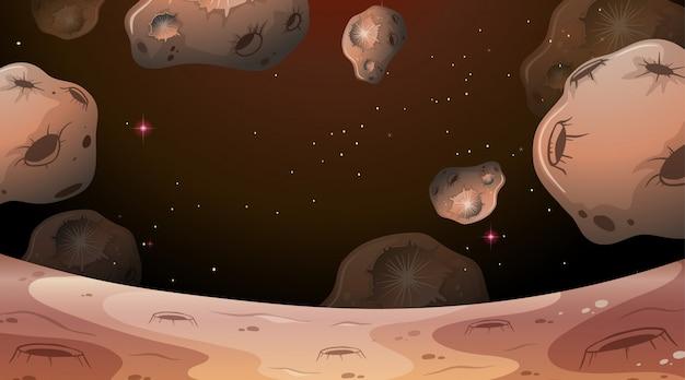 Mondszene mit asteroidenhintergrund Kostenlosen Vektoren