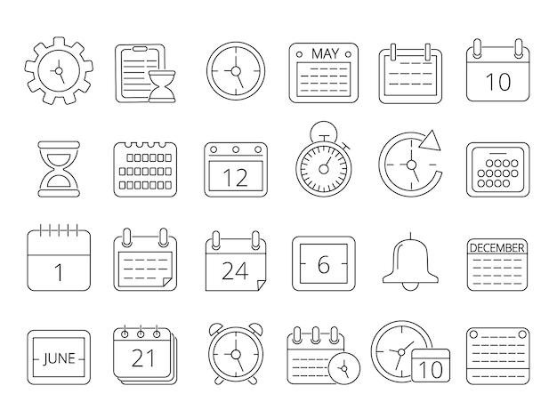 Mono-line-bilder-set von zeitmanagementsymbolen Premium Vektoren