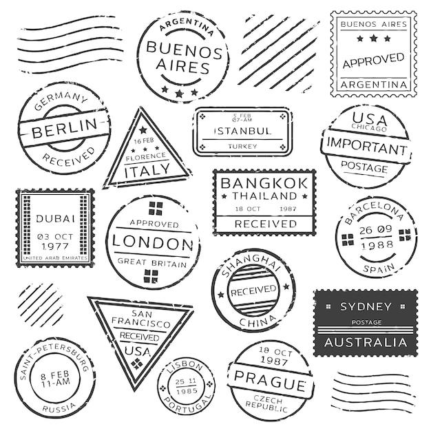 Monochrom retro briefmarken set Kostenlosen Vektoren
