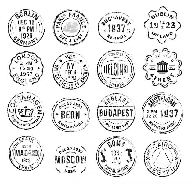 Monochromatische isolierte briefmarken set Kostenlosen Vektoren