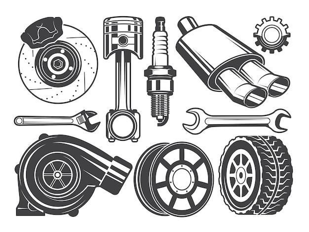 Monochrome bilder von motor, turbolader und anderen autowerkzeugen Premium Vektoren