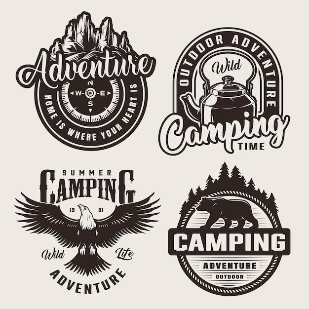Monochrome camping-abenteuerlogos Kostenlosen Vektoren