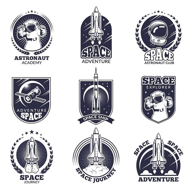 Monochrome etiketten für astronauten. Premium Vektoren