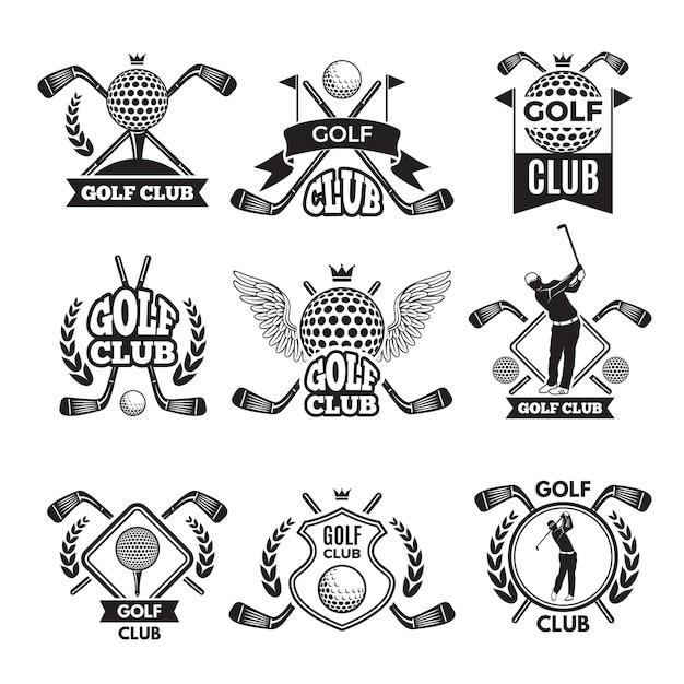 Monochrome etiketten für golfschläger. illustration für sportturnier oder wettbewerb. golf club emblem und abzeichen sammlung Premium Vektoren