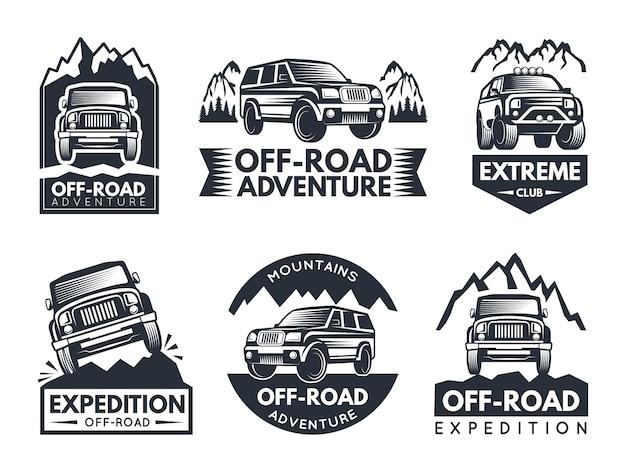 Monochrome etiketten mit geländewagen eingestellt Premium Vektoren