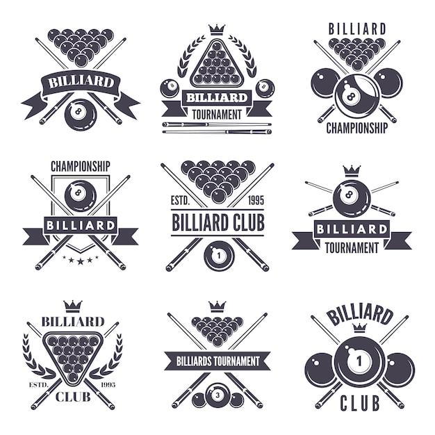 Monochrome etiketten oder logos für billard-club. Premium Vektoren