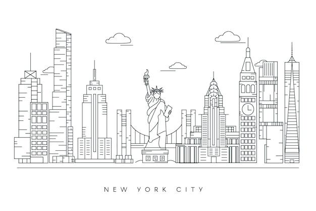 Monochrome gliederung sehenswürdigkeiten skyline Kostenlosen Vektoren