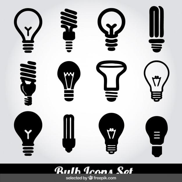 Monochrome glühbirne symbole gesetzt Kostenlosen Vektoren