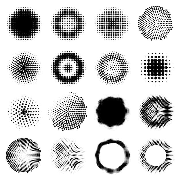 Monochrome halftone effects circles set Kostenlosen Vektoren