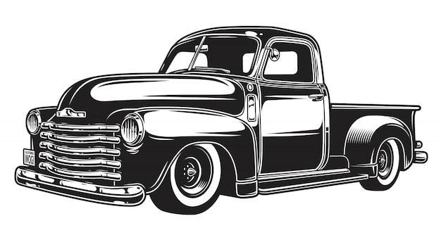 Monochrome illustration des retro-art-lastwagens Premium Vektoren