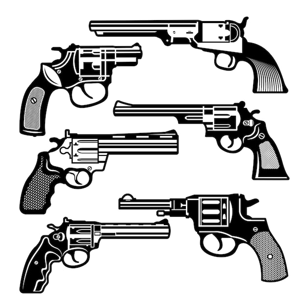 Monochrome illustrationen von retro-waffen Premium Vektoren