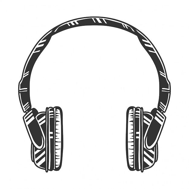 Monochrome kopfhörer, audio-headset, bild, retro-stil. auf weiß isoliert Premium Vektoren