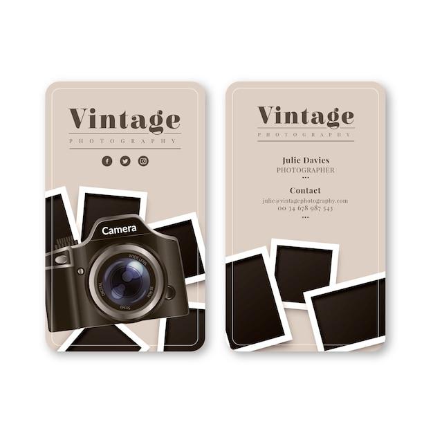 Monochrome visitenkarte für die fotografie Kostenlosen Vektoren