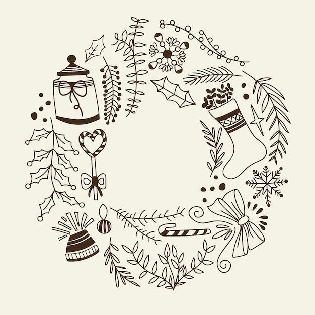 Monochrome weihnachtskranz dekorative elemente kritzeln mit feiertag und kreativen elementen Kostenlosen Vektoren